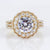 Precision Set 18K Yellow Gold Double Halo Diamond Semi-Mount Engagement Ring (Setting Only)