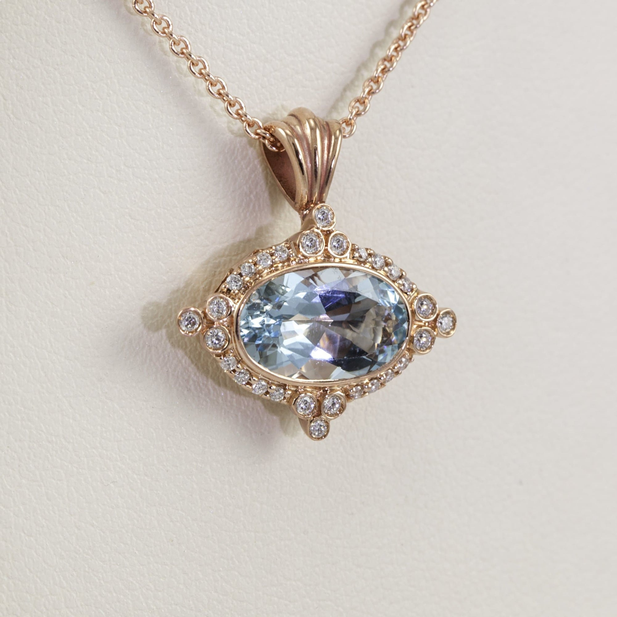 18K Rose Gold East-West Design Step-Cut Aquamarine and Diamond Halo Necklace, 18 Inches