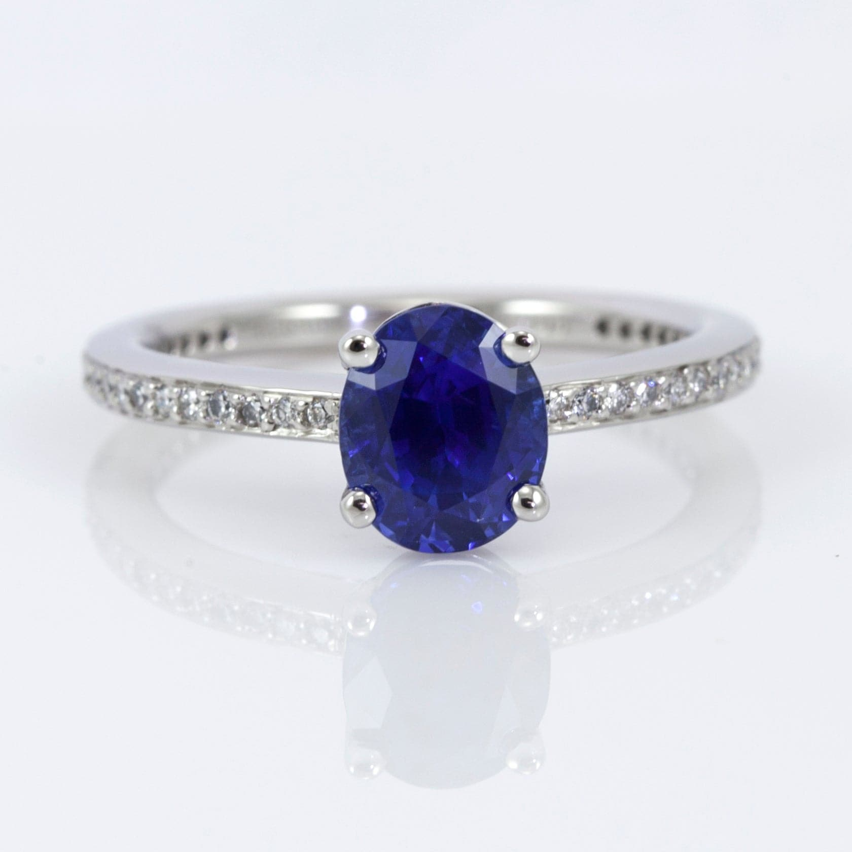 Platinum 4-Prong Sapphire and Diamond Ring