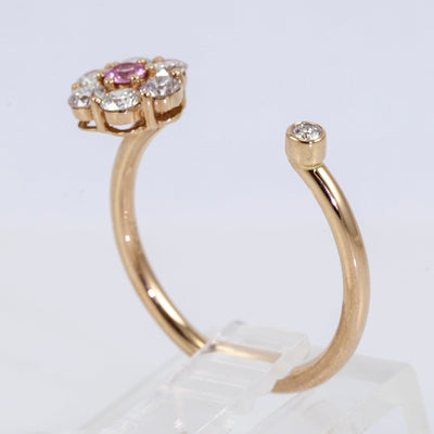 18K Rose Gold Pink Sapphire and Diamond Flower Ring