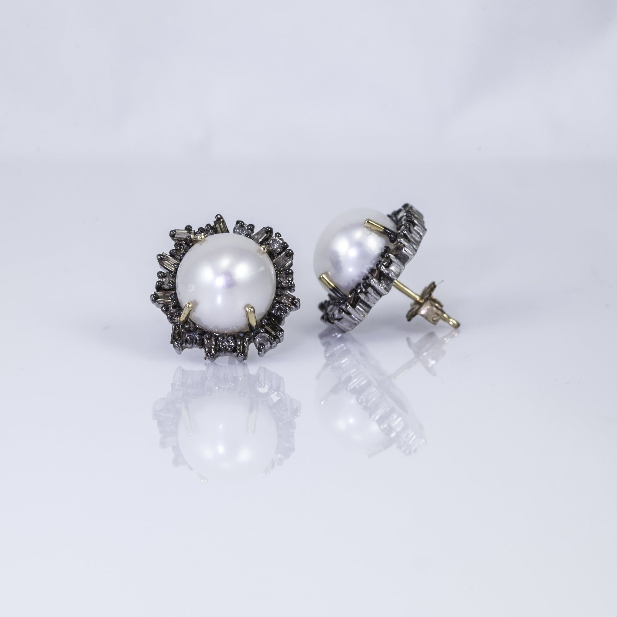 Vincent Peach Sterling Silver Freshwater Pearl and Diamond Stud Earrings