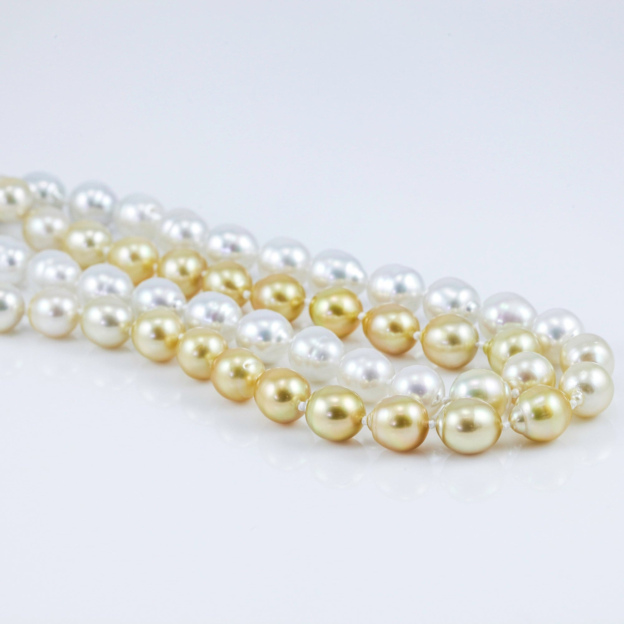 36-Inch White and Gold South Sea Baroque Pearl Necklace, 36 Inches