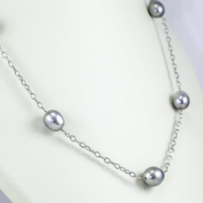 14K White Gold Gray Tahitian Pearl Necklace, 35 Inches