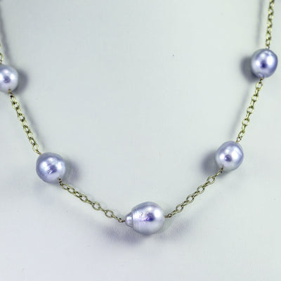 14K Yellow Gold South Sea Baroque Pearl Necklace, 38 Inches