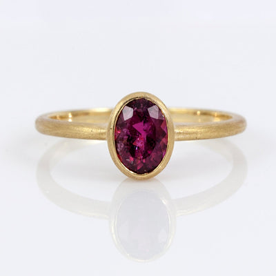 Exclusively by Nina 18K Yellow Gold Oval Rubellite Tourmaline Ring