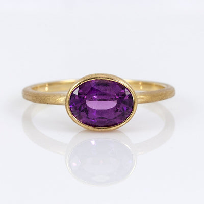 Nina 18K Yellow Gold East-West Amaranth Rhodolite Garnet