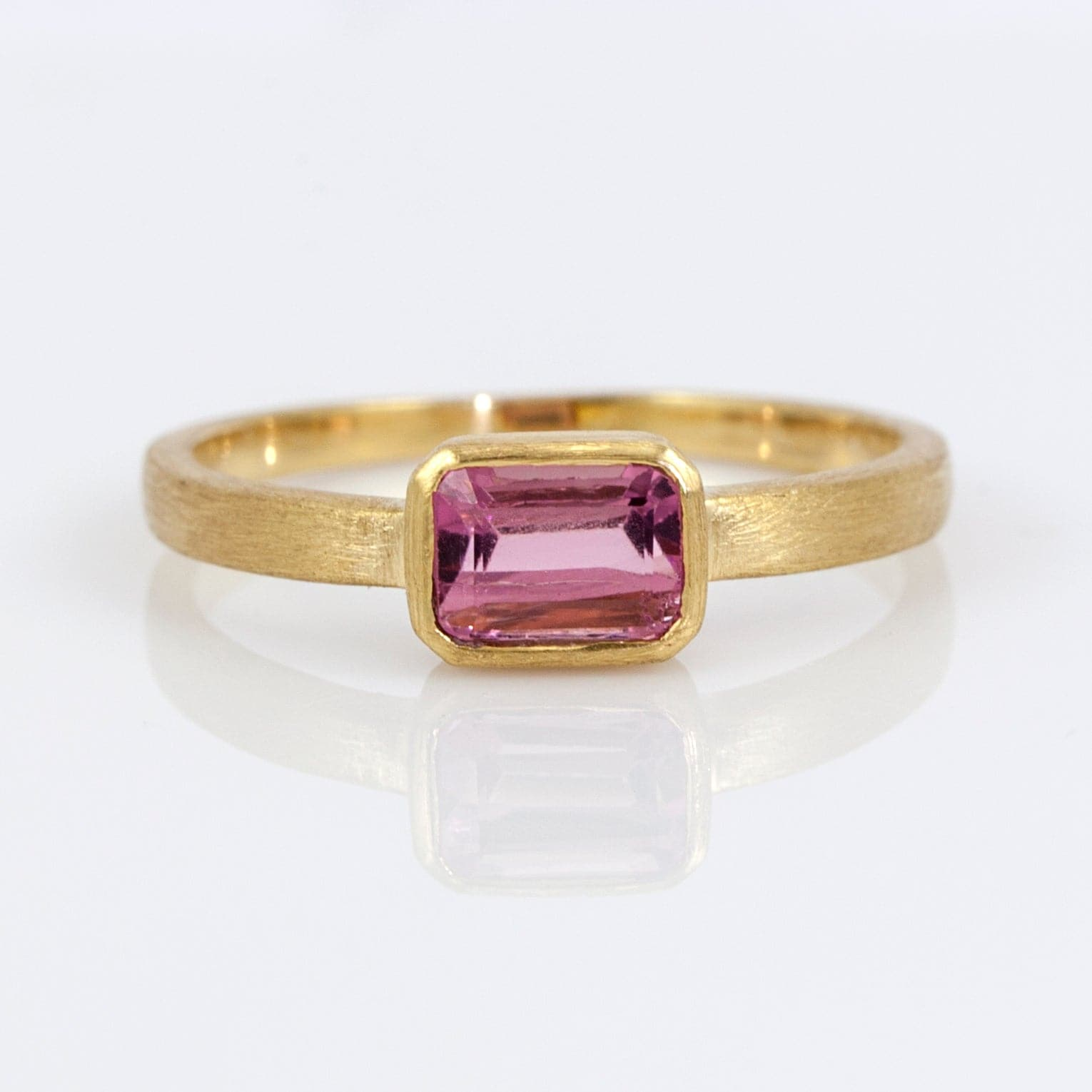 Nina 18KYG Emerald-Cut Pink Tourmaline Ring