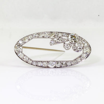 Estate Platinum Edwardian Diamond Brooch, Circa 1890