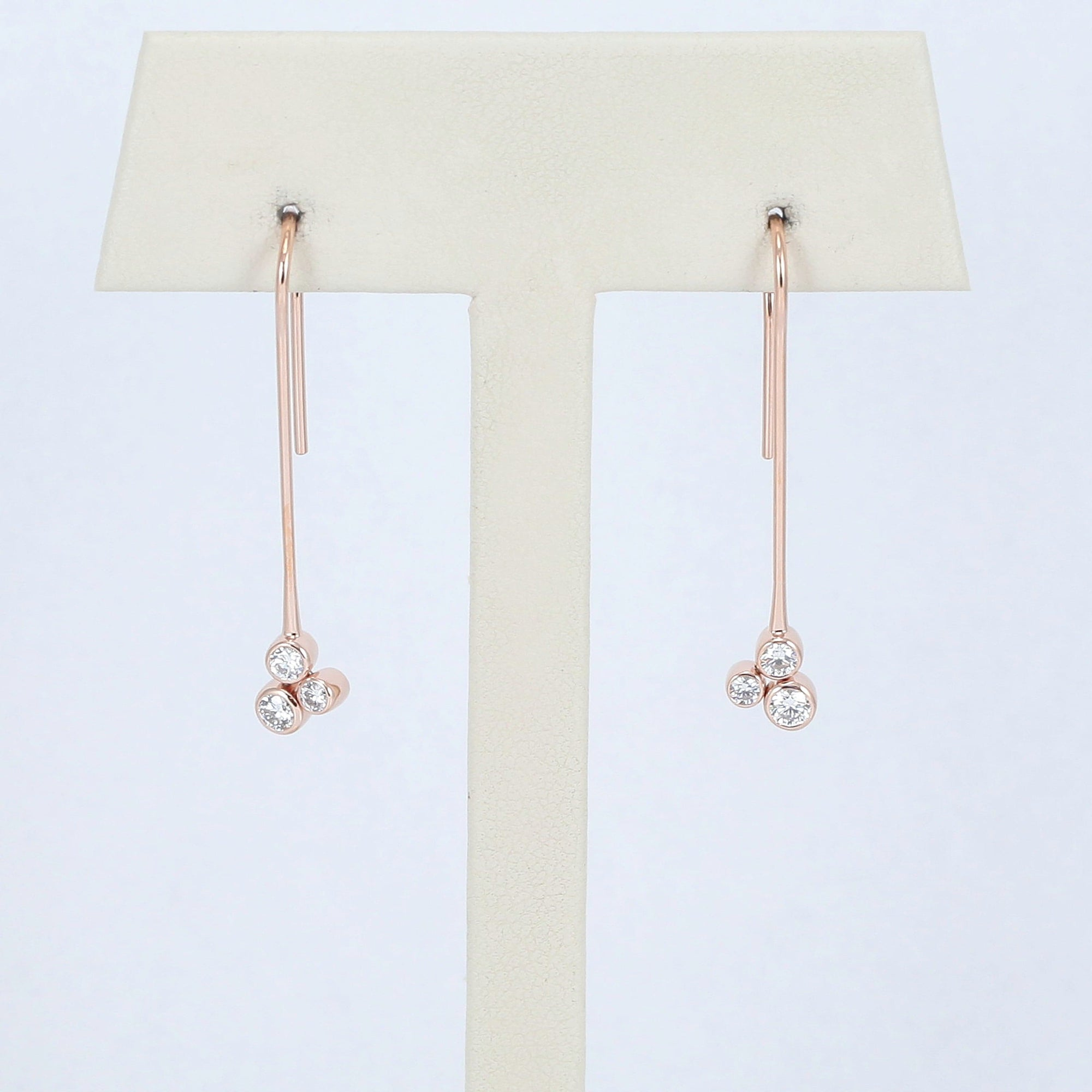 Mark Patterson 18K Rose Gold Tri-Bezel Diamond Mist Dangle Earrings