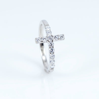 A*Men Sterling silver pave white zirconia cross ring