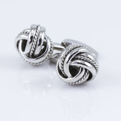 Tateossian Sterling Silver Royal Cable Knot Cufflinks
