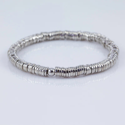 Tateossian Pure Polished Sterling Silver Disc Stretch Bracelet