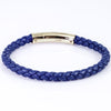Tateossian Tubo Taito Braided Blue Leather Bracelet With Rose Gold Clasp