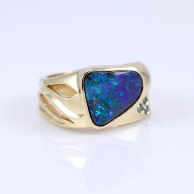 Jon Anderson 18K Yellow Gold Boulder Opal and Diamond Ring