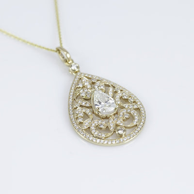 14K Yellow Gold Pear-Shape Diamond Necklace