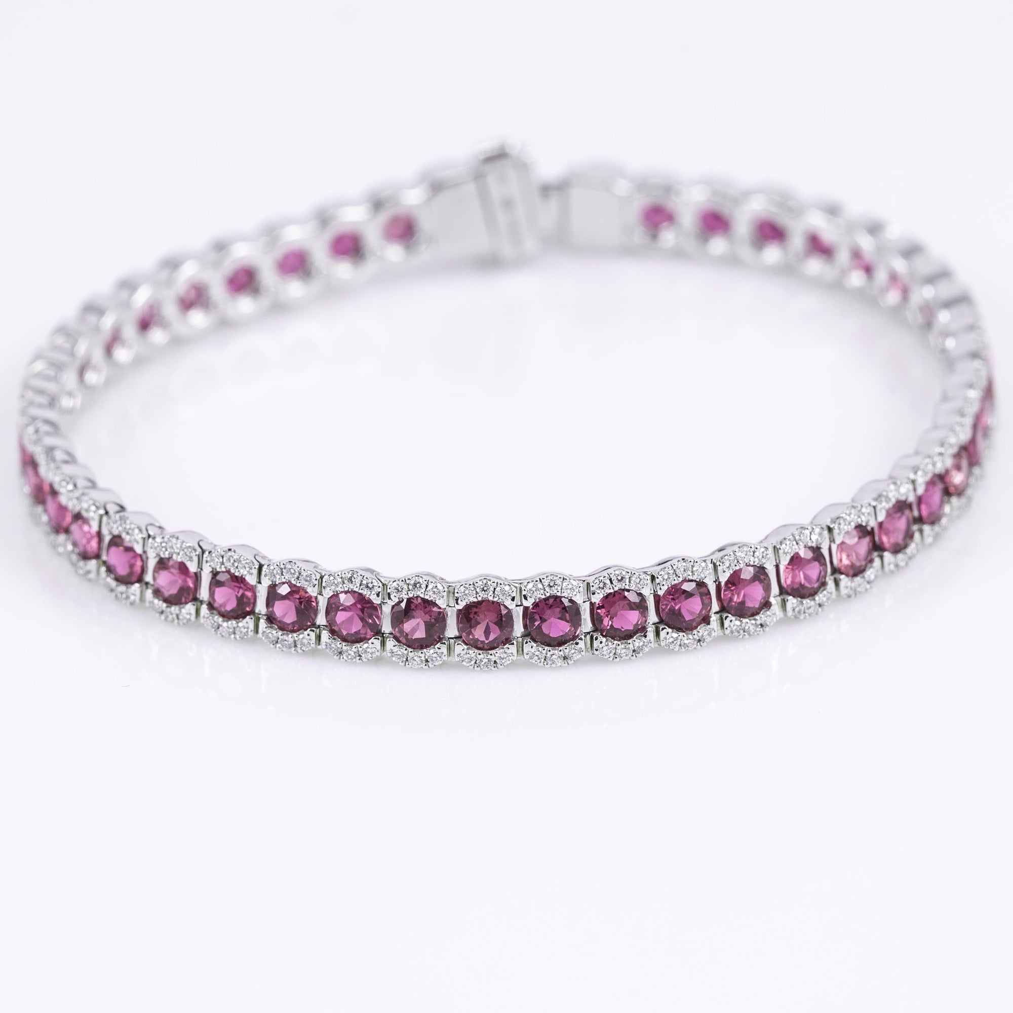 14k White Gold Pink Sapphire and Diamond Bracelet (7in)