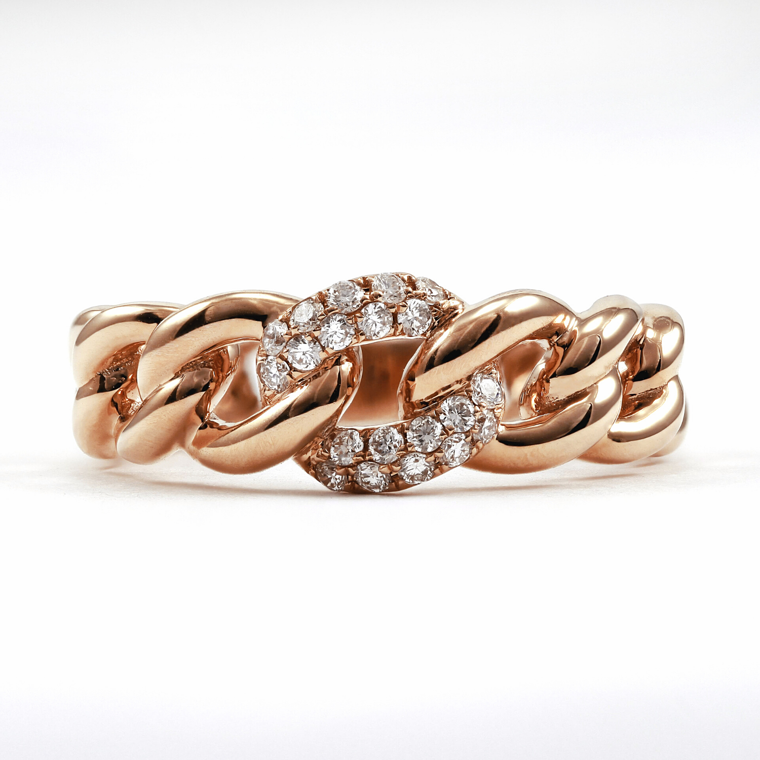18K Rose Gold Pave Diamond Chain Ring