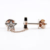 EF Collection 14K Rose Gold Diamond and White Enamel  Star and Chain Stud Earrings