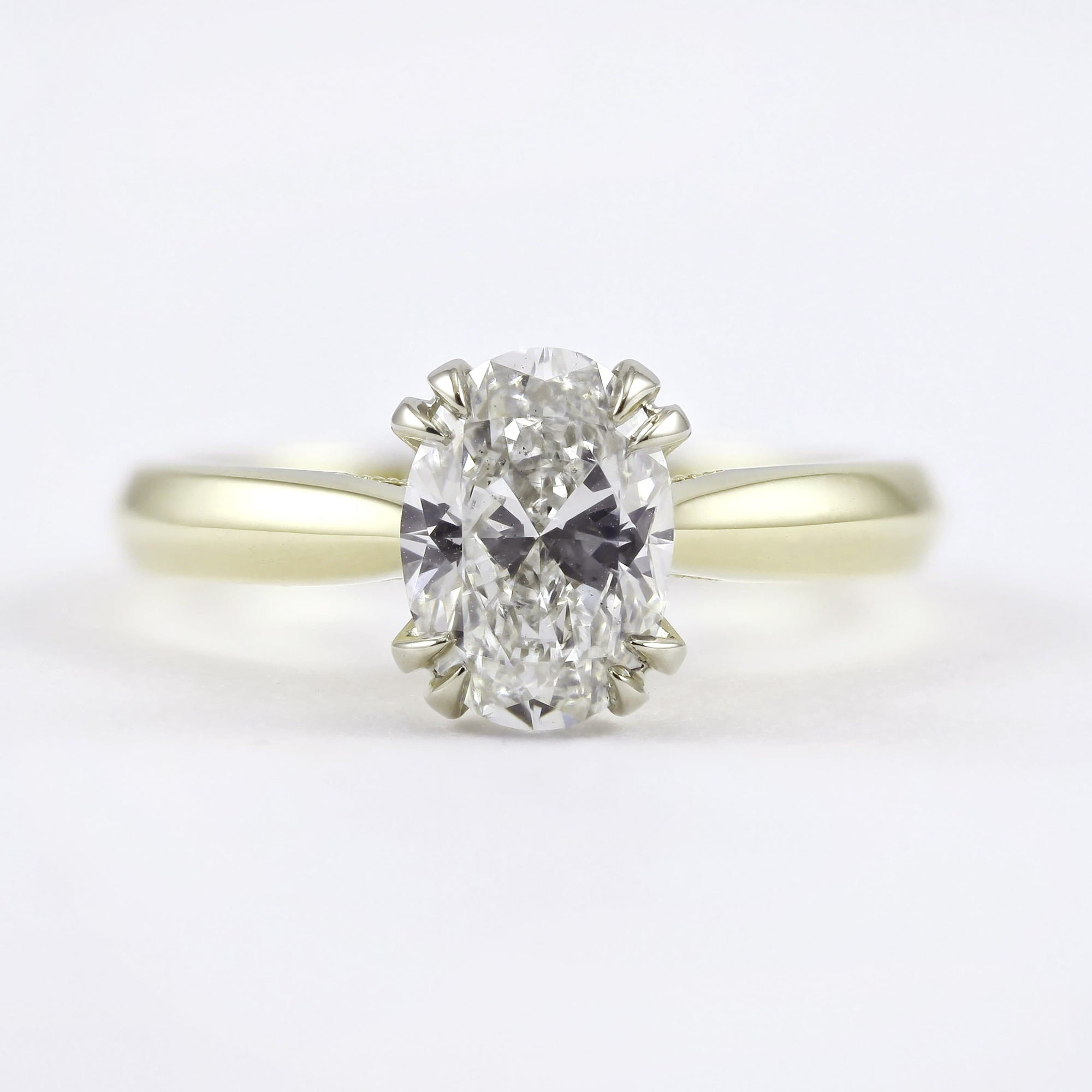 18K Yellow Gold 4-Double Prong Flush-Fit Diamond Ring