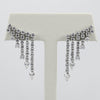 18K White Gold Prong Set Diamond Curtain Drop Earrings