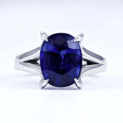 Jon Anderson Platinum Cushion Cut Sapphire Ring