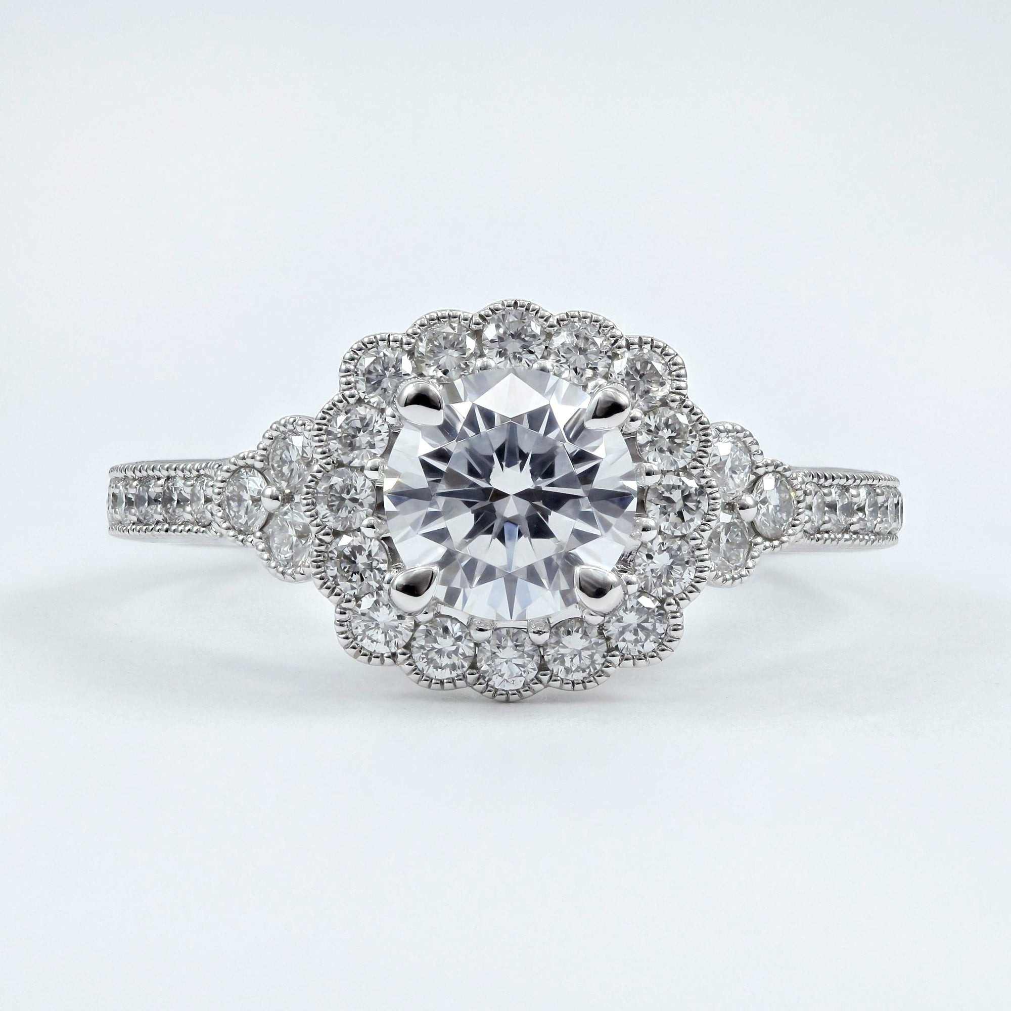 Fana 14K White Gold Scalloped Halo Ring with Cathedral, Bridge and Peekaboo Diamond Set