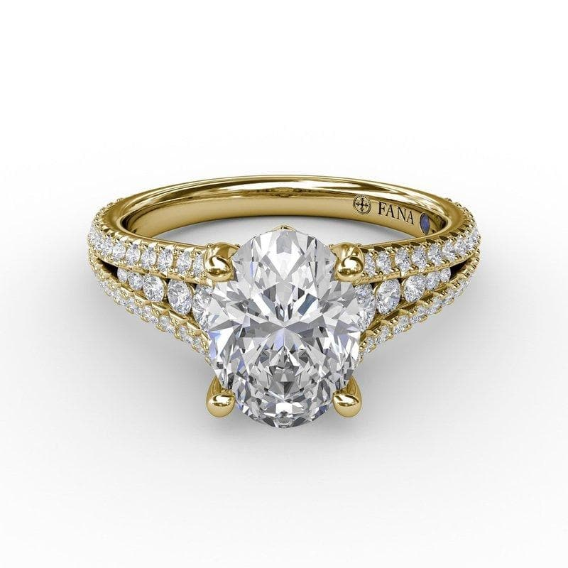 14K Yellow Gold Diamond Semi-Mount Engagement Ring (Setting Only)