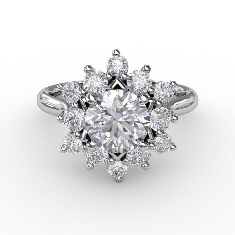 14K White Gold Scattered Halo Semi-Mount Diamond Engagement Ring (Setting Only)