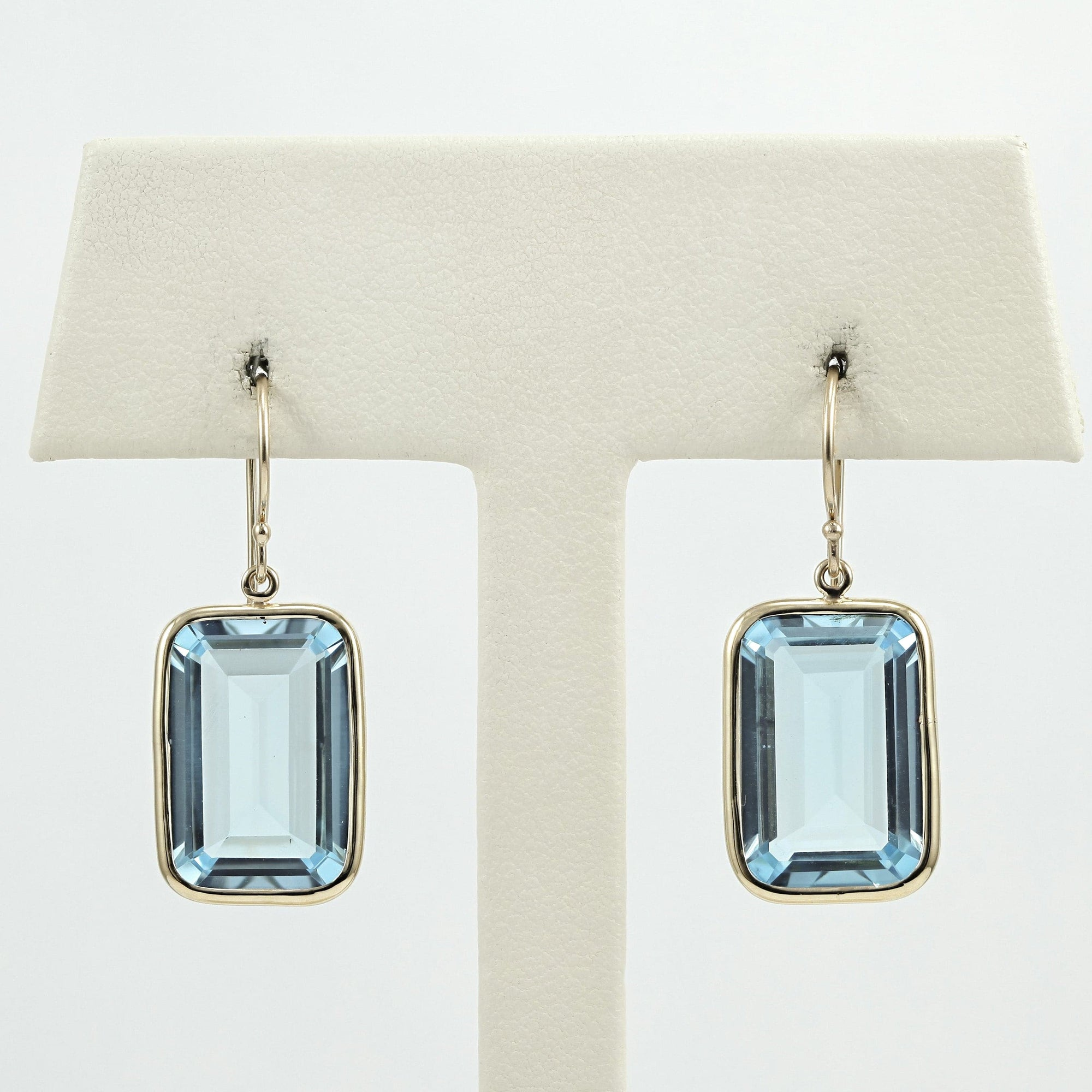 Jamie Joseph 14k YG rectangular sky blue topaz earrings