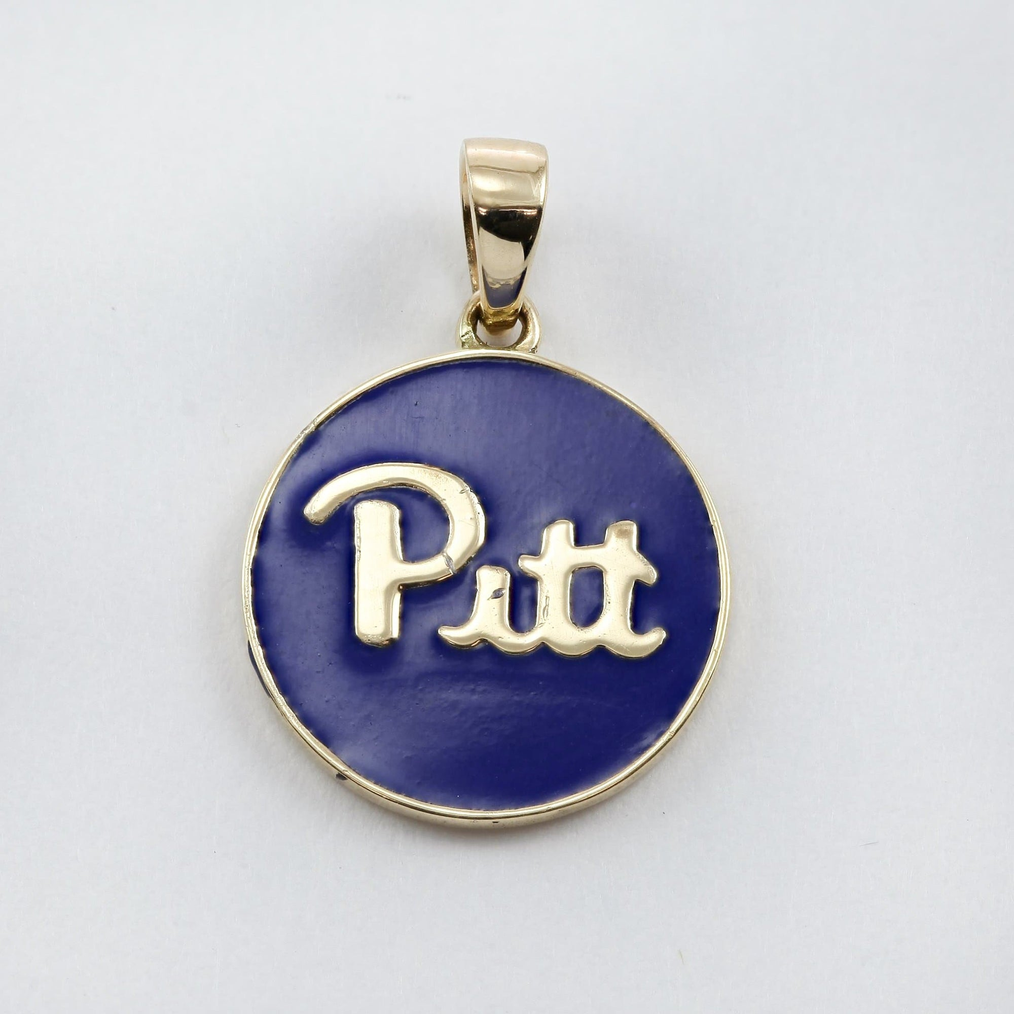14K Yellow Gold Pitt and H2P Blue Enamel Charm