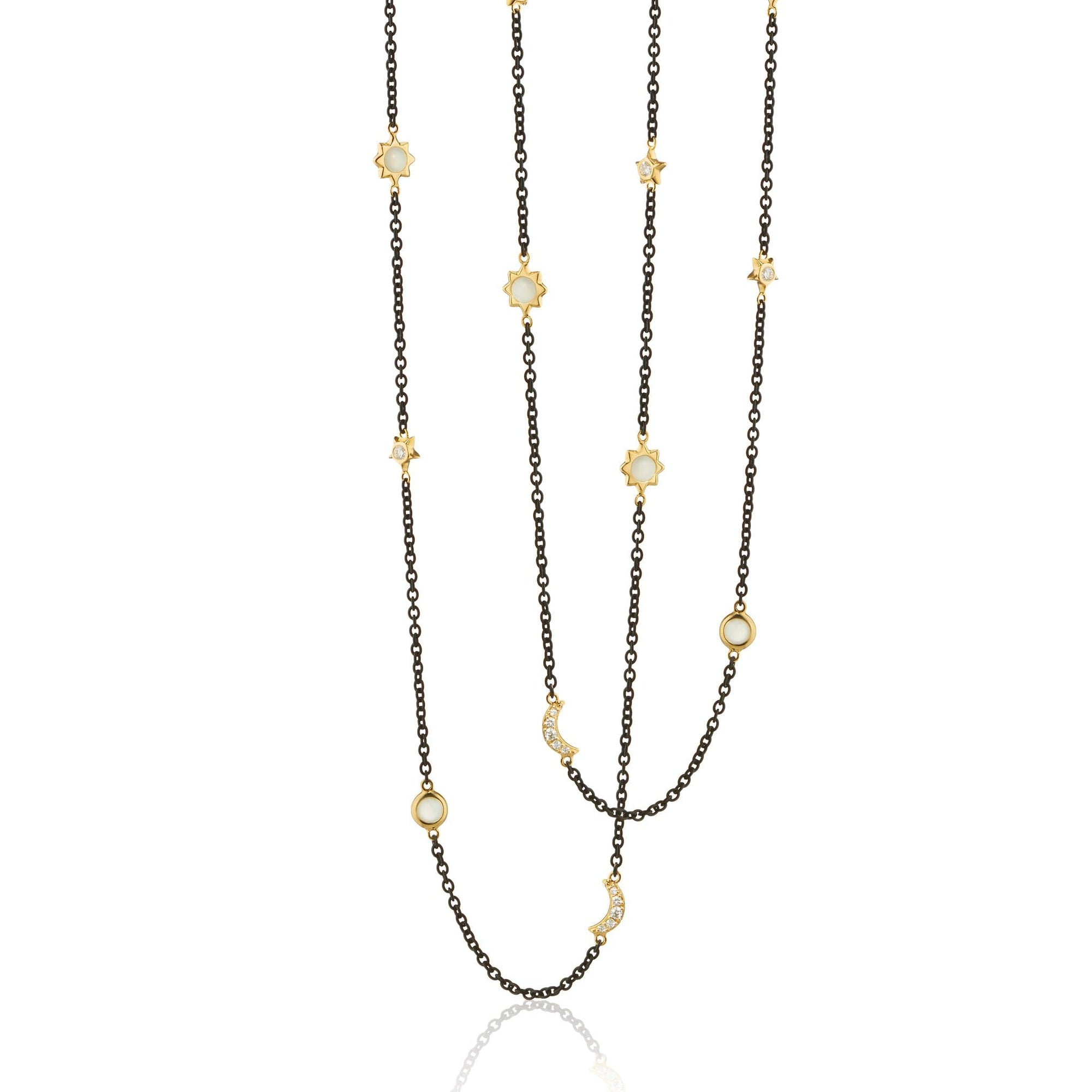 Monica Rich Kosann 18K Yellow Gold Moon and Stars Diamond and Moonstone Necklace