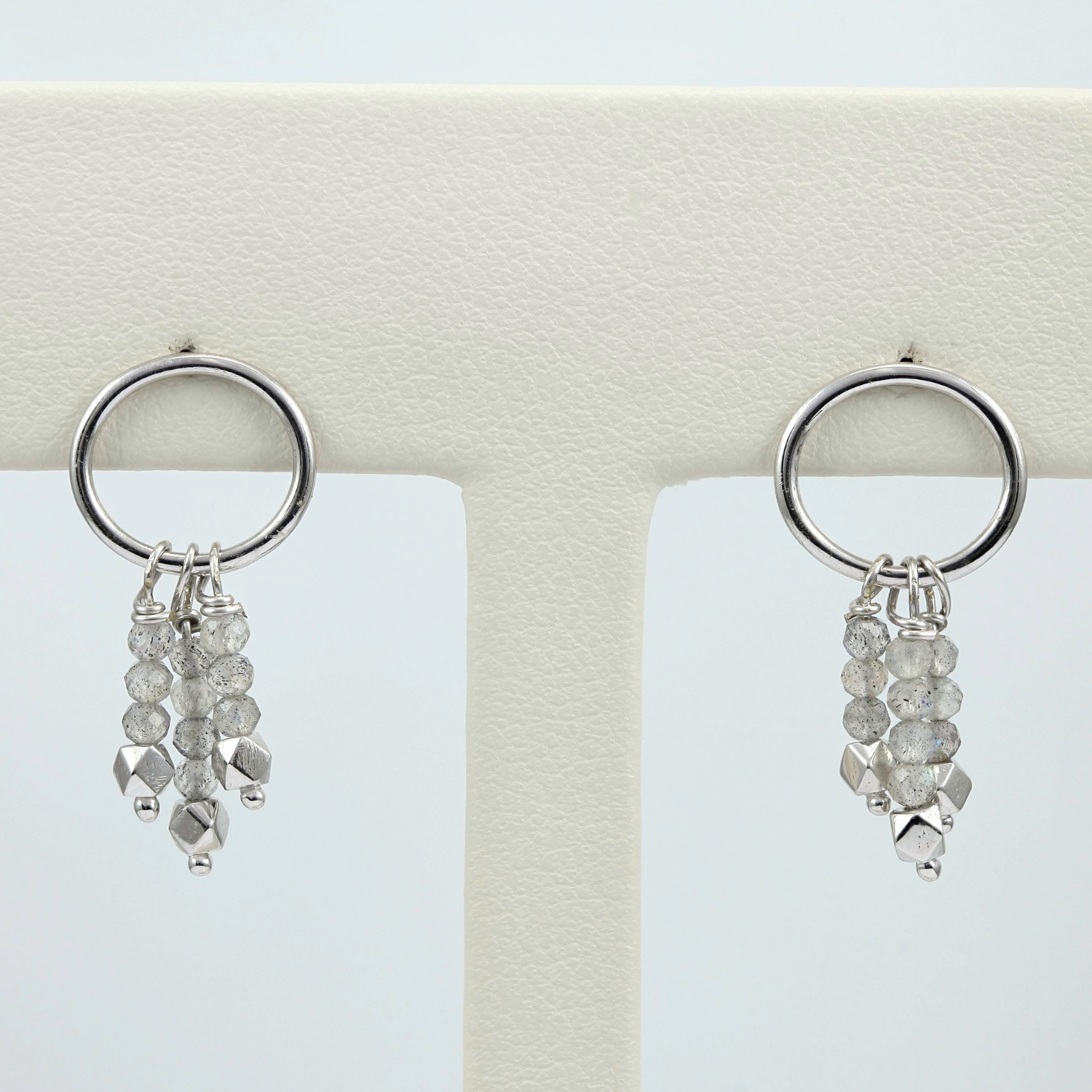 Exclusively by Nina 14K White Gold Triple Labradorite Bead Earrings
