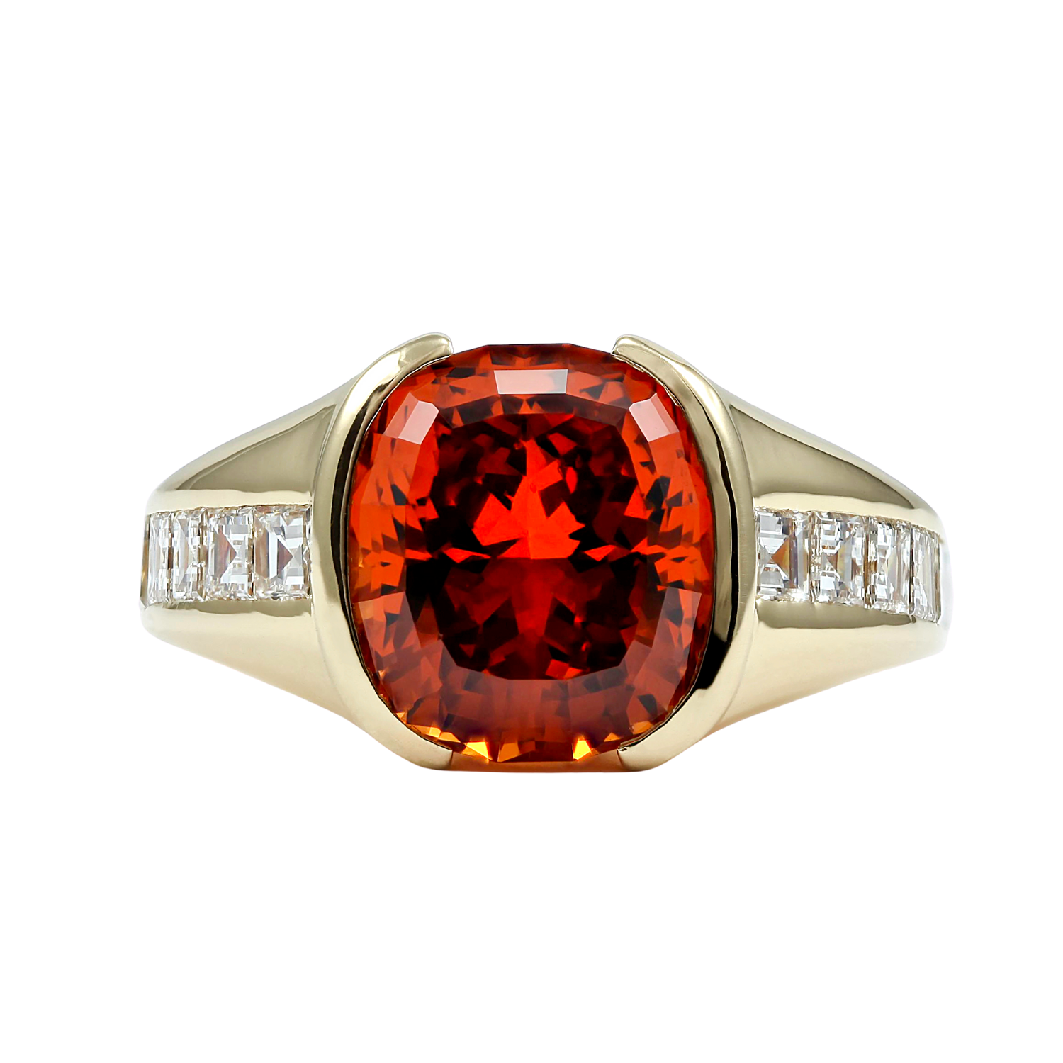 Exclusively by Nina 18K Yellow Gold Mandarin Garnet and Diamond Ring