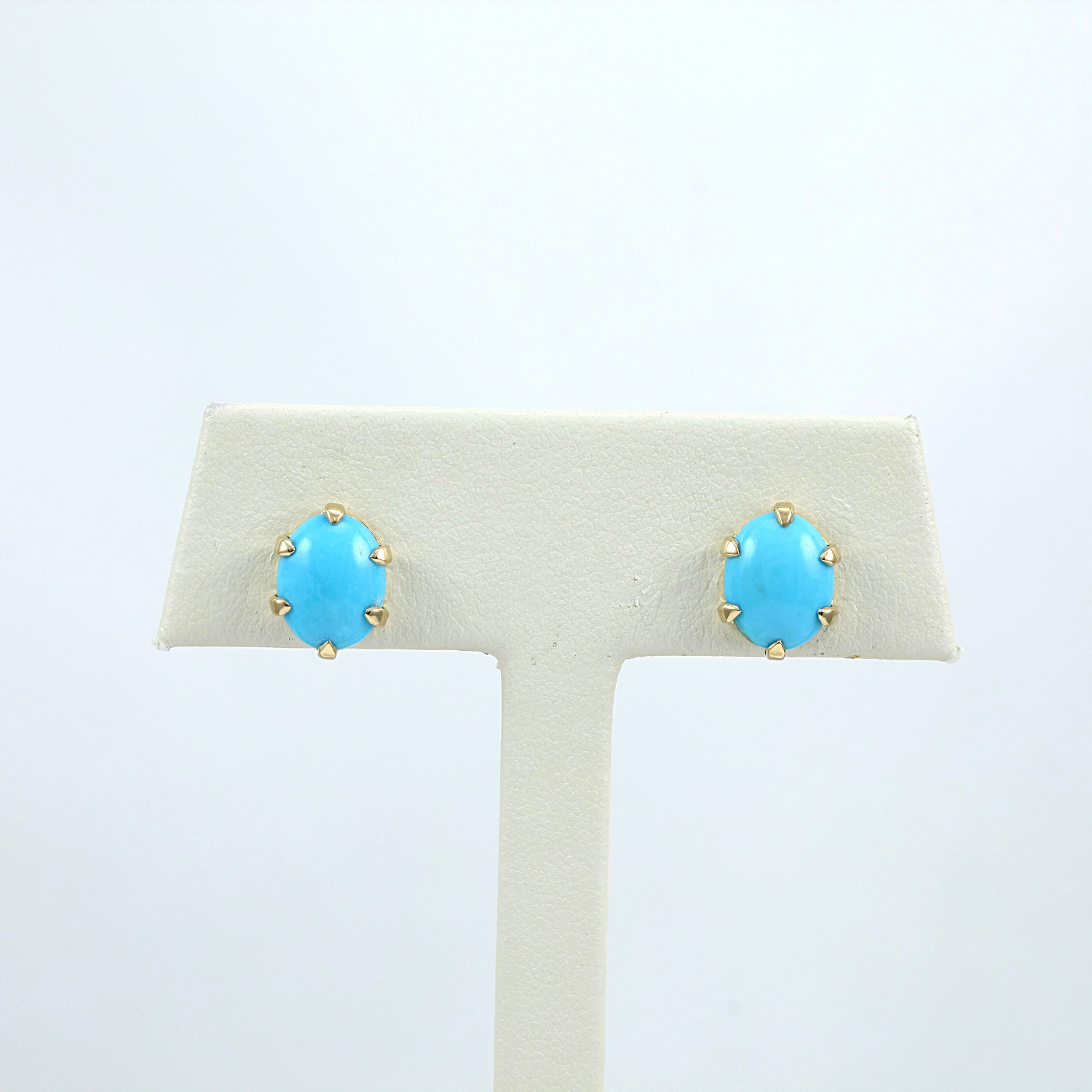 Exclusively by Nina 18K Yellow Gold 6-Prong Oval Turquoise Earrings