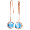 Mark Patterson 18K Rose Gold Diamond and Moonstone Dangle Earrings