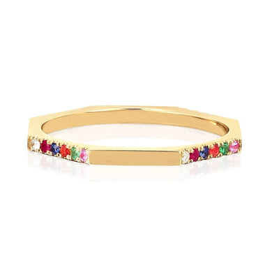 EF Collection 14K Yellow Gold Half Rainbow Octagon Stack Ring