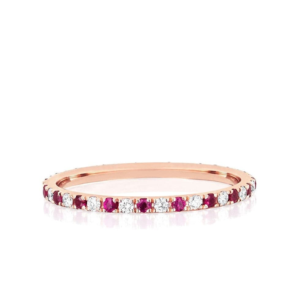 EF Collection 14K Rose Gold Ruby and Diamond Eternity Band