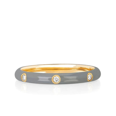 EF Collection 14K Yellow Gold Grey Enamel Stack Ring