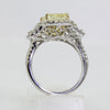 18K Yellow and White Gold Yellow Diamond and Diamond Three-Stone Engagement Ring