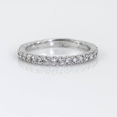 18K White Gold Partial Bezel-Set Diamond Wedding Band