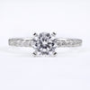 14K White Gold Bead Set Diamond Engagement Ring