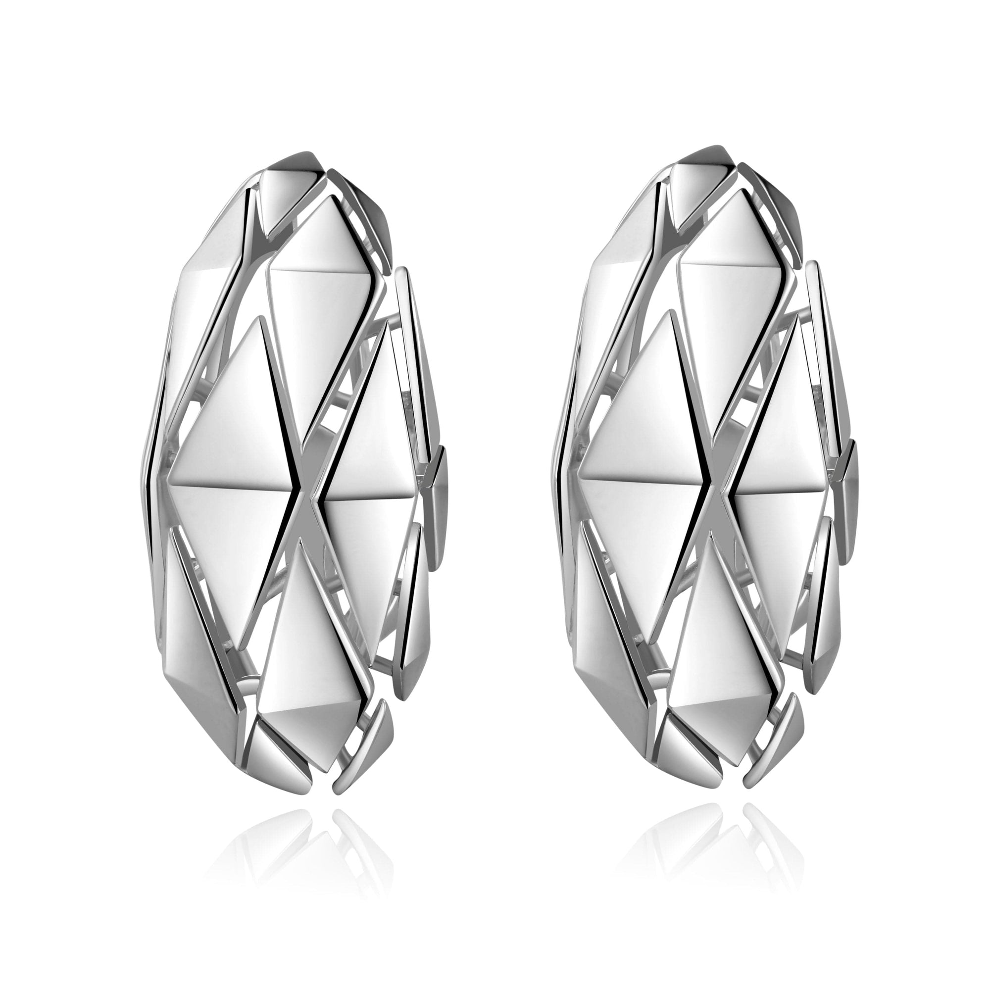 Pianegonda Sterling Silver Planus Oval Geometric Earrings