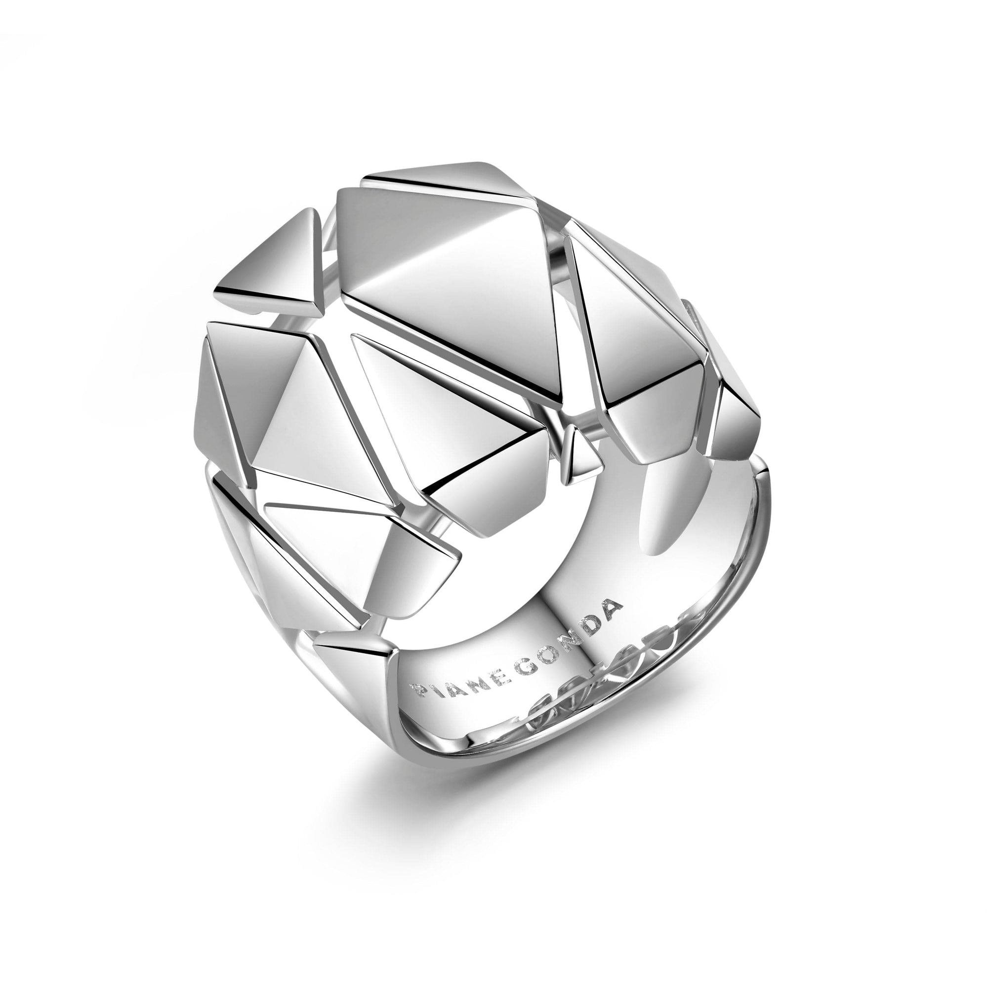 Pianegonda Sterling Silver Planus Polished Geometric Ring