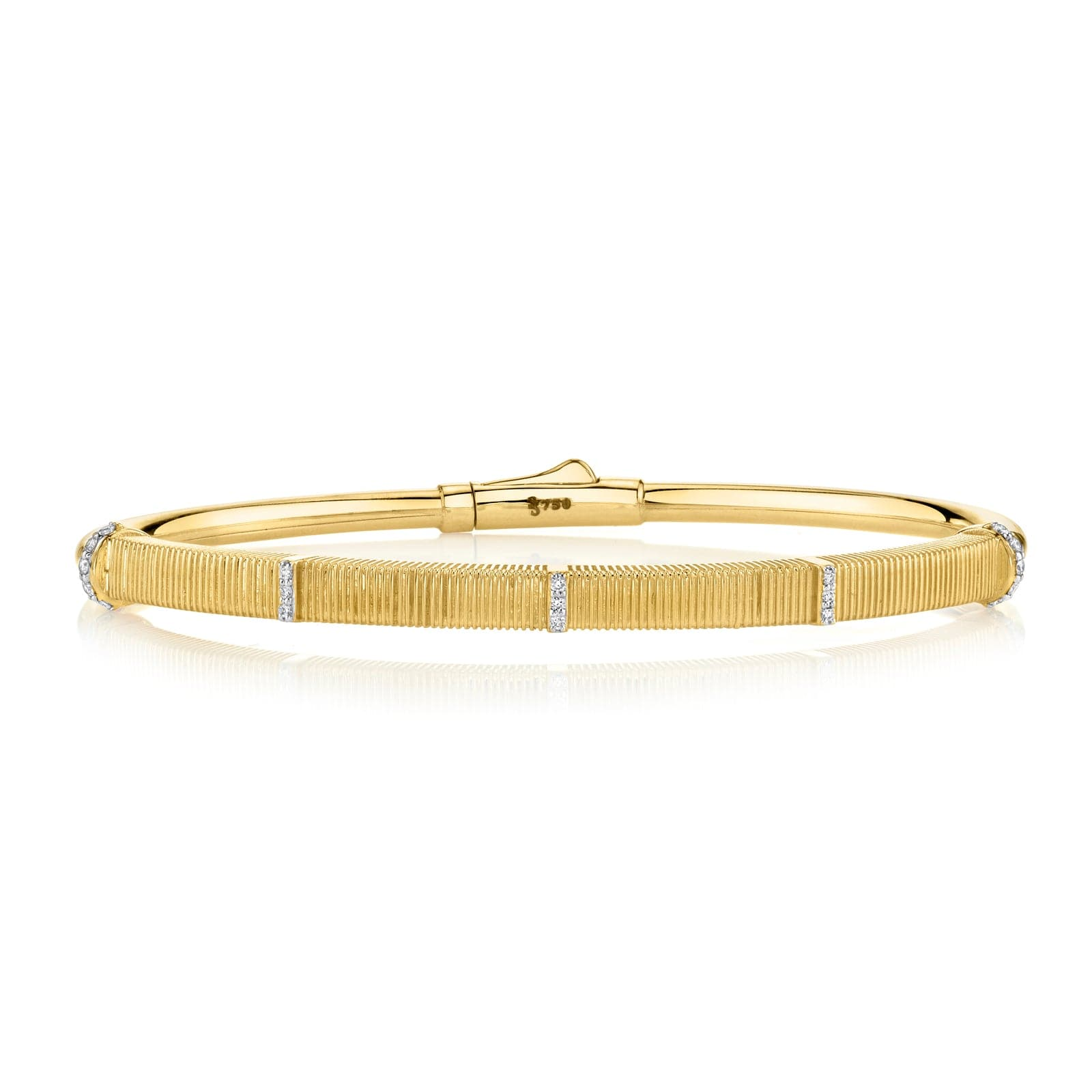 Sloane Street 18K Yellow Gold Strie Bracelet With White Diamond Detail