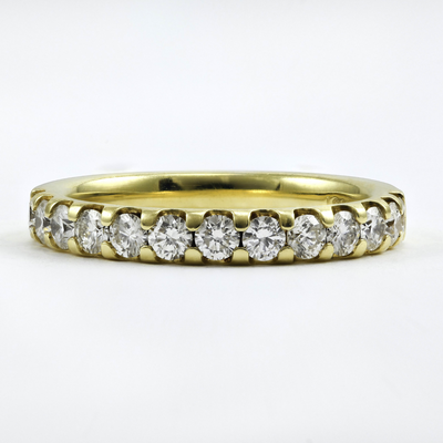 18K Yellow Gold Half Eternity Diamond Wedding Band