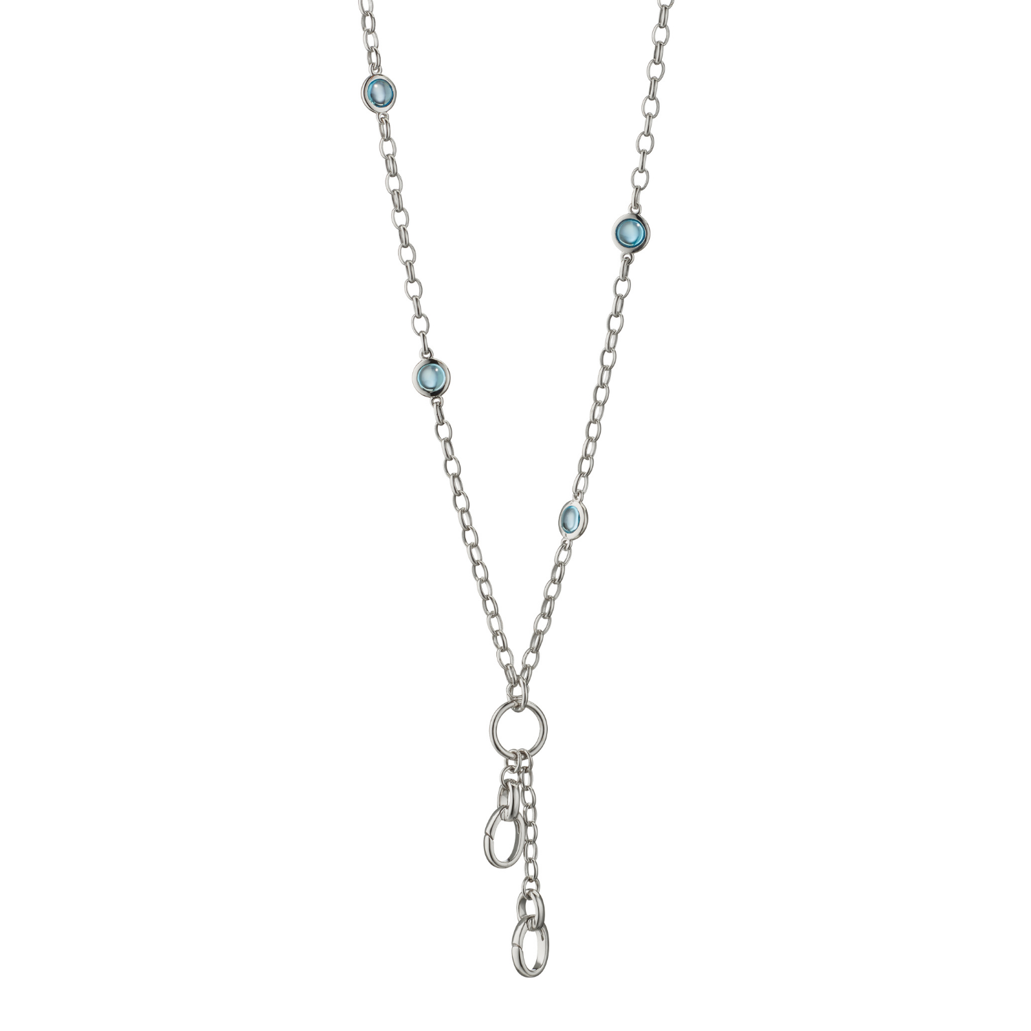 Monica Rich Kosann Silver Blue Topaz Necklace With Charm Enhancers