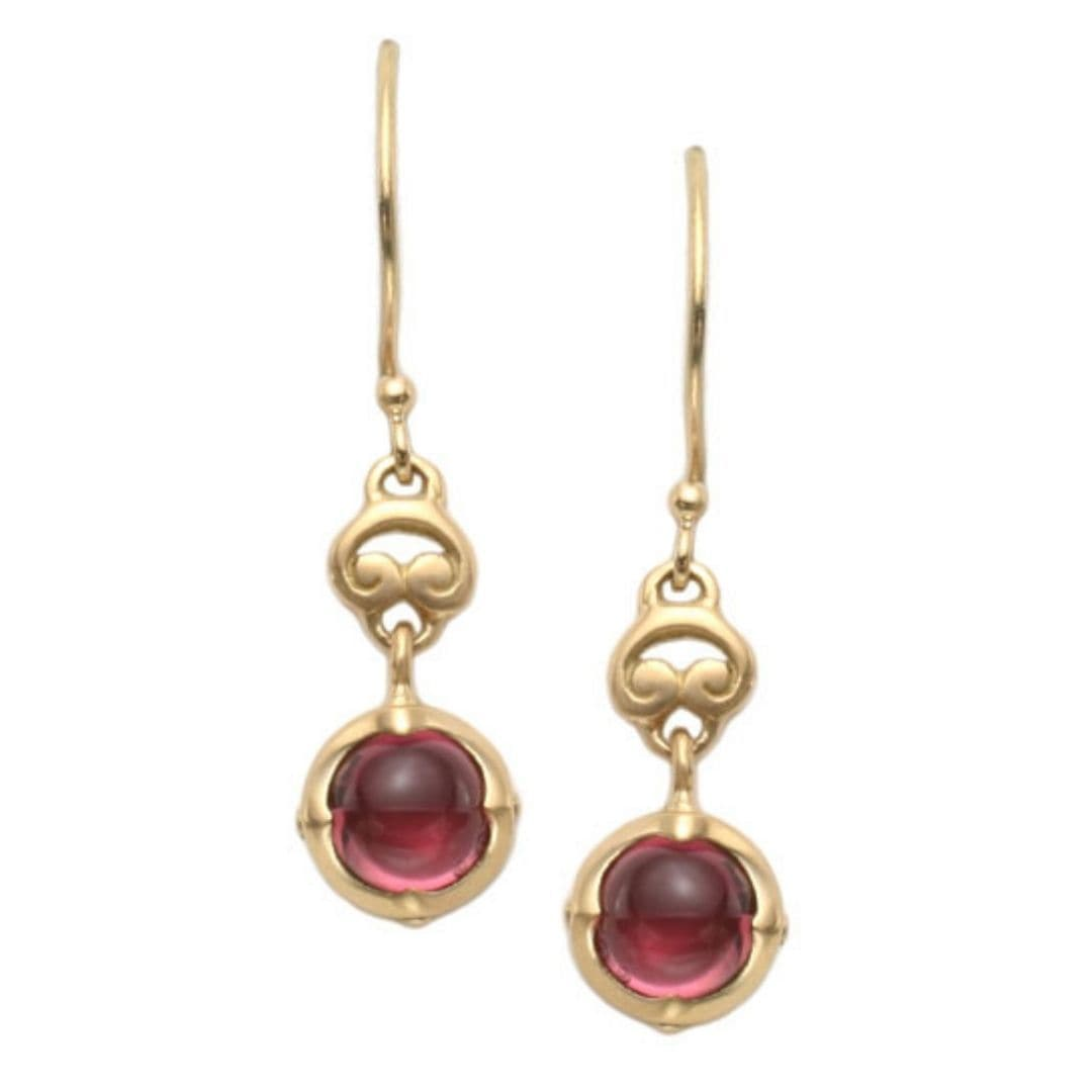 Steven Battelle 18k YG cabochon pink tourmaline shepherd hook earrings