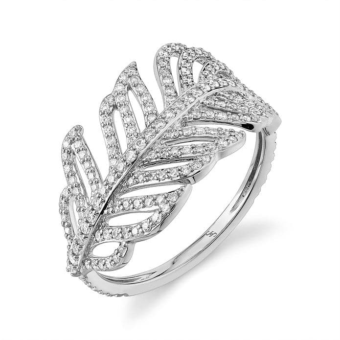 Sloane Street 18K White Gold Diamond Feather Cocktail Ring