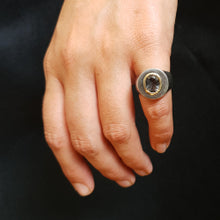 Signet ring - tourmalated quartz and gold