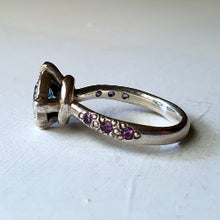 Victoria's solitaire - swiss blue topaz and amethyst